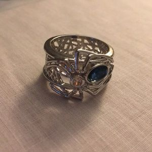 Blue Topaz Spider 1.68 Ct Sterling Silver Ring